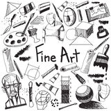 Fine art equipment and stationary handwriting doodle. And tool model icon in white isolated background paper used for school or college education and document Stock Photo