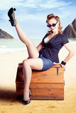 Fine Art Fifties Poster Girl On Travel Luggage Royalty Free Stock Photo