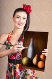 Fine art girl painting still life gallery artwork Stock Photos