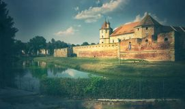 Graphic illustration with Fagaras Fortress royalty free stock images