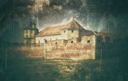 graphic illustration with Fagaras Fortress Royalty Free Stock Photo