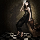 Fine Art Grunge Fashion Portrait In Dark Interior Royalty Free Stock Photos