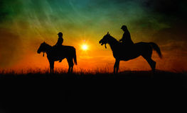 Fine art horse riders Royalty Free Stock Photo