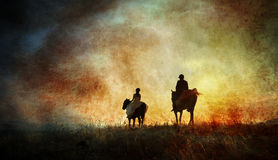 Fine art horse riders silhouette Stock Images