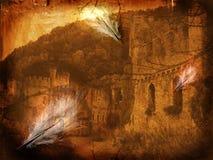 Fine art illustration - Mystery castle. Creative digital collage , great as an illustration stock illustration