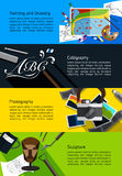 Fine art infographic banners about painting and drawing, calligr. Aphy, photography, and sculpture template background layout design, create by vector Royalty Free Stock Images