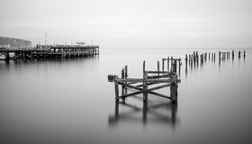 Free Fine Art Landscape Image Of Derelict Pier In Milky Long Exposure Royalty Free Stock Photos - 35846008
