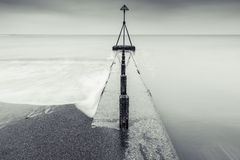 Fine art long exposure black and white sea scape. Minimalistic design with horizon line Royalty Free Stock Photo