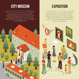Fine Art Museum 2 Isometric Banners. Fine art museum gallery painting exhibition 2 isometric vertical banners set with visitors abstract  vector illustration Stock Photography