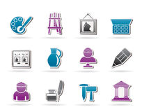 Fine art objects icons. Vector icon set Stock Image