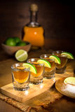 Fine art photo of alcohol liquor tequila and shot glasses Stock Image