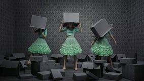 Fine art photo collage of three fashionable women Stock Image