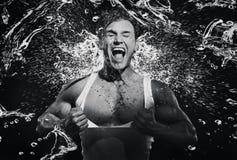 Fine art photo of a young strongman screaming Stock Photos
