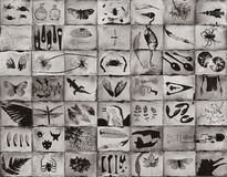 Fine art photogram images of natural and man made objects. Made using the wet plate colldion process in a darkroom, and consisitng of 49 individual wet paltes stock photos