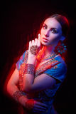 Fine art portrait of beautiful fashion Indian Stock Photo