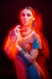 Fine art portrait of beautiful fashion Indian Stock Photography