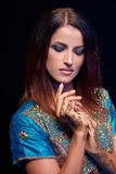 Fine art portrait of beautiful fashion Indian Royalty Free Stock Photography
