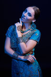 Fine art portrait of beautiful fashion Indian Royalty Free Stock Photo