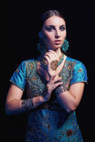 Fine art portrait of beautiful fashion Indian Royalty Free Stock Image