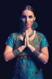 Fine art portrait of beautiful fashion Indian Royalty Free Stock Photos