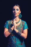 Fine art portrait of beautiful fashion Indian Stock Photo