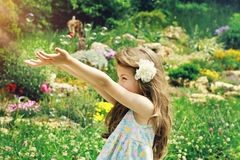 Fine art  portrait of beautiful girl playing outside with soap bubbles Stock Photos