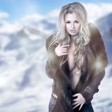 Fine art portrait of a beautiful lady in fur Royalty Free Stock Photography