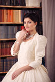 Fine art portrait of a bride in vintage dress Stock Photo