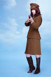 Fine art portrait of a lady in army uniform Stock Photos