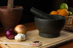 Fine art still life with mortar and pestle Royalty Free Stock Images