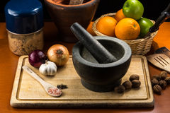 Fine art still life with mortar and pestle Stock Image