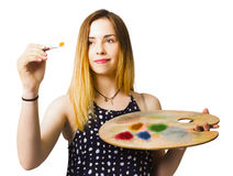 Fine art student painting artistic craft message Stock Images