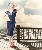 Fine art vintage pin-up. Vacation departure dock Stock Images