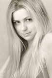 Fine-art woman portrait. Fine-art black and white portrait of the young beautiful woman Royalty Free Stock Photo