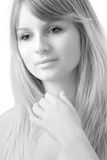 Fine-art woman portrait. Fine-art black and white portrait of the young beautiful woman Royalty Free Stock Images