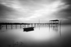 Fine art the wooden jetty. Wooden jetty in black and white Stock Photography