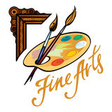 Fine Arts. Frame palette picture oil paint brush Stock Image