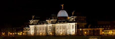 Fine Arts Academy at night. Dresden, Germany Stock Photos