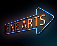 Fine arts concept. 3d Illustration depicting an illuminated neon sign with a fine arts concept Stock Image