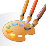 Fine arts equipment. Artist's paintbrushes and palette, vector illustration Stock Image