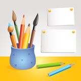 Fine arts equipment. Artist's blue pot with multiple paintbrushes and pencils, vector illustration Stock Photography