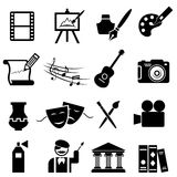 Fine arts icon set. In black Royalty Free Stock Images