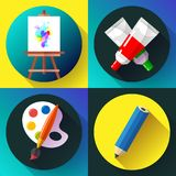 Fine arts icon set in black. Fine arts icon set vector illustrations - easel with paint, brush and tube of paint with pencil Royalty Free Stock Photography