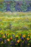 Flower oil painting. Violet, orange yellow flowers field close-up, oil paintings landscape impressionism artwork. royalty free illustration