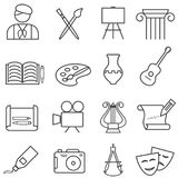 Fine arts, painting, music line icons Stock Image