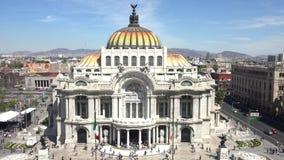 Fine Arts Palace Palacio de Bellas Artes. Aerial view of the beautiful Fine Arts Palace Palacio de Bellas Artes of Mexico City, Mexico stock footage