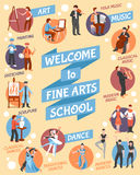 Fine Arts School Poster. With  art and dance symbols flat vector illustration Royalty Free Stock Photos