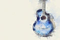 Fine astratta della chitarra acustica su sul fondo della pittura dell'acquerello illustrazione vettoriale