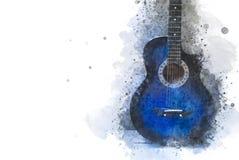 Fine astratta della chitarra acustica su sul fondo della pittura dell'acquerello illustrazione di stock