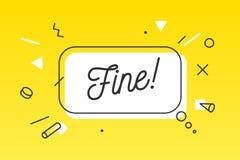 fine Baner, anförandebubbla, affisch och klistermärkebegrepp vektor illustrationer